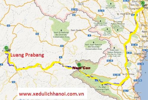 ban do duong di cua xe nam ha noi Luang Prabang